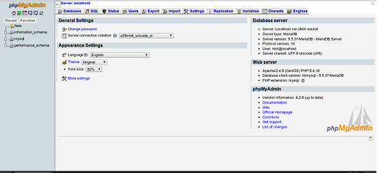 This is a dashboard of phpMyAdmin page after fresh installation.